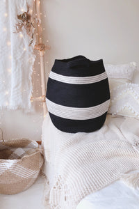 Black and White Striped Tummy Cotton Basket