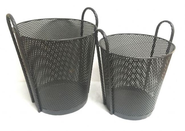 Black Mesh Storage Baskets With Ornate Iron Handles - Kitchen, Office, Bathroom or Lounge