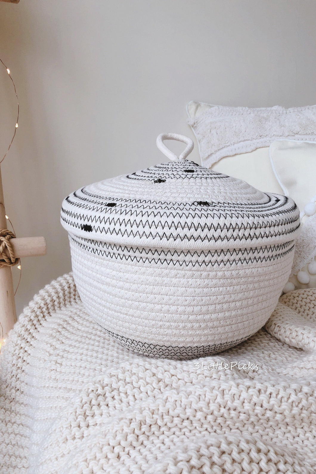 Braided Cotton Basket With Lid