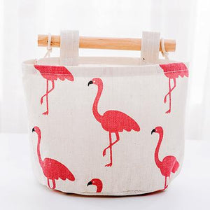 1 Pc Folding Cartoon Round Cotton Linen Desktop Storage Box Sundries Organizer Stationery Cosmetic Basket Container Case