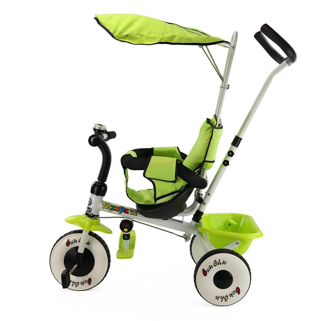 4-In-1 Baby Stroller Tricycle Toy Bike with Canopy Basket-Green