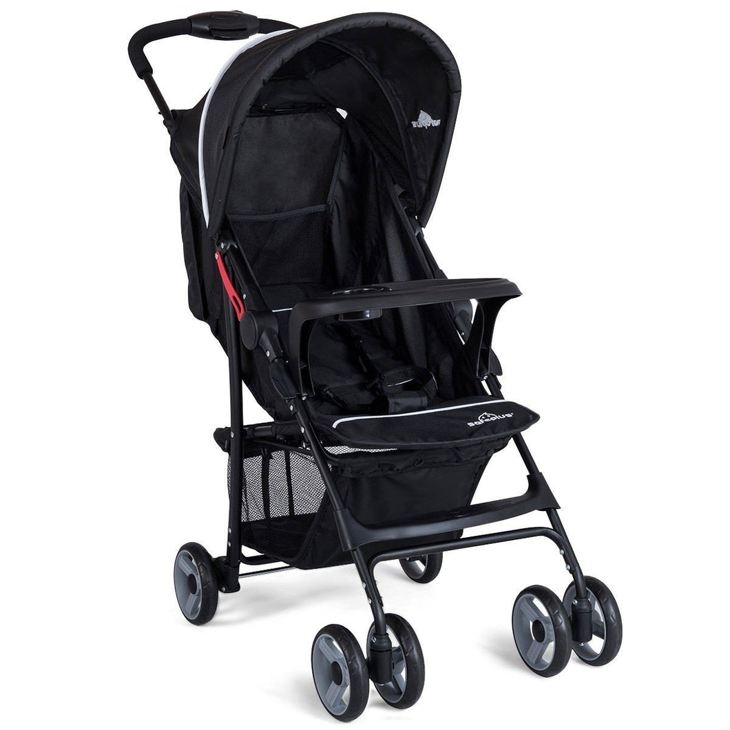 5-Point Safety System Foldable Lightweight Baby Stroller-Black