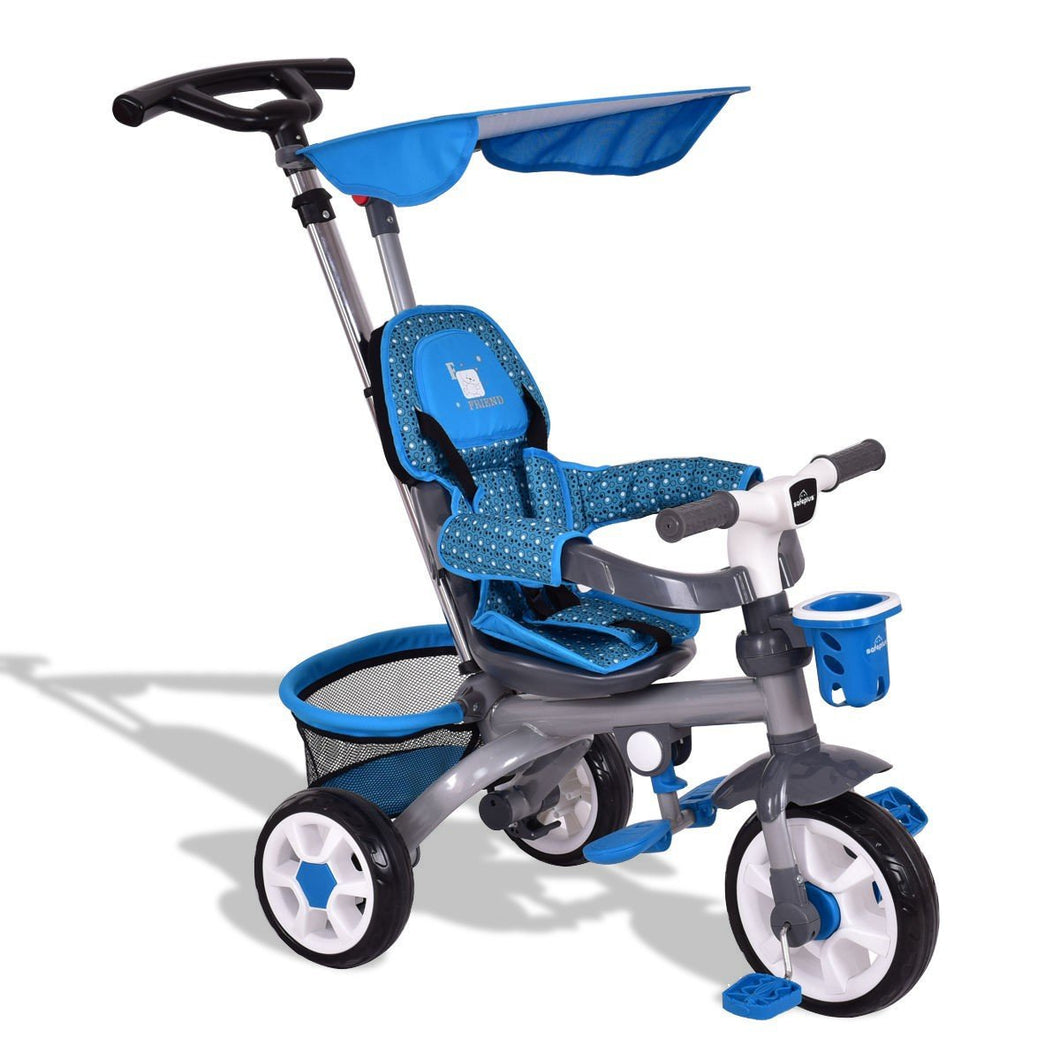 4-In-1 Kids Baby Stroller Tricycle Detachable Learning Toy Bike w/ Canopy & Basket-Blue