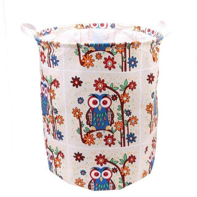 Canvas Folding Large Laundry Storage Bucket Foldable Dirty Clothes Storage Bag Kids Toys Barrel Organizer E5M1