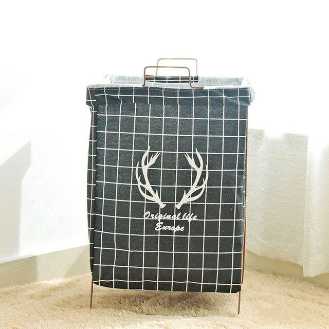 Picnic Basket Stand Laundry Basket Toy Storage Box Super Large Bag Iron Frame Support Washing Dirty Clothes Big Basket Organizer