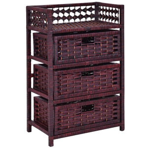 3 Drawers Wicker Baskets Storage Chest Rack-Coffee