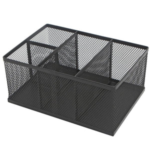 Modern Rectangular Black Metal Mesh 4 Compartment Office Supplies Storage Organizer Caddy Rack - MyGift®