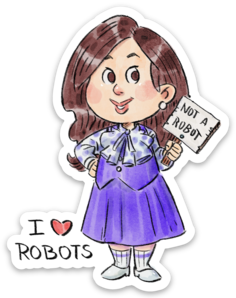 I Love Robots-Vinyl Sticker