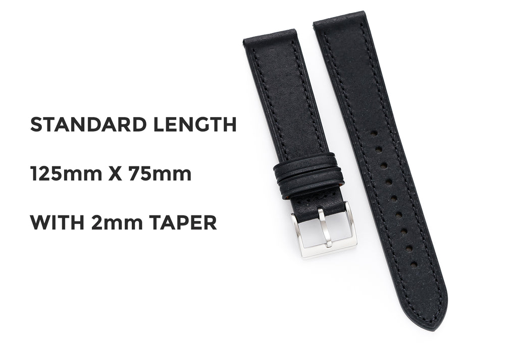 Dryden Watch Company 20mm 22mm Quick Release Italian Vegetable Tanned  Pueblo Leather Strap Black