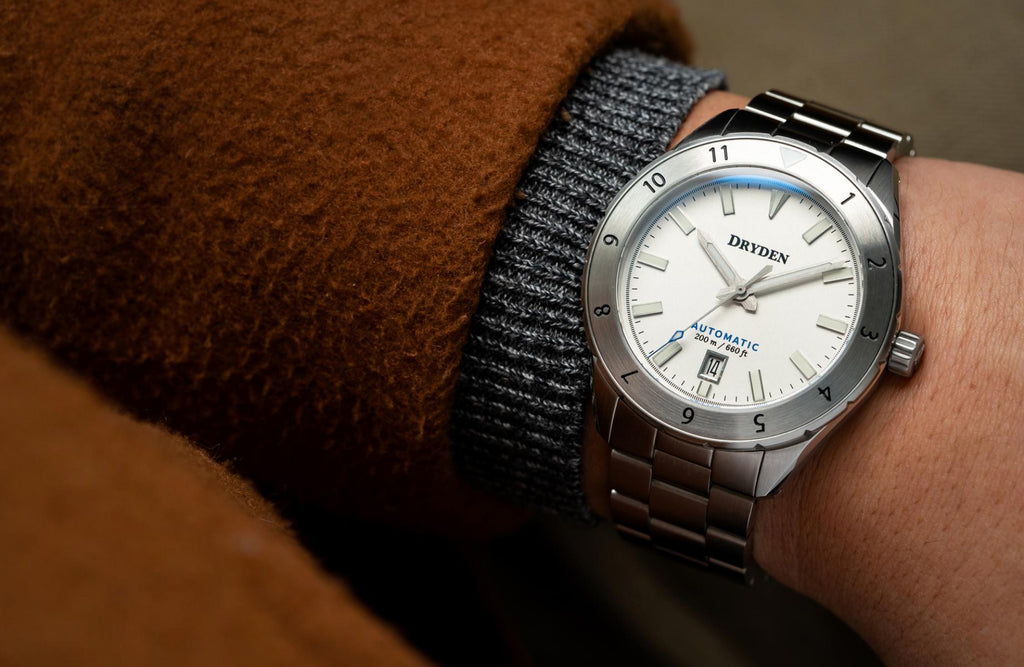 Dryden Watch Company Pathfinder Automatic Diver Watch Arctic Silver