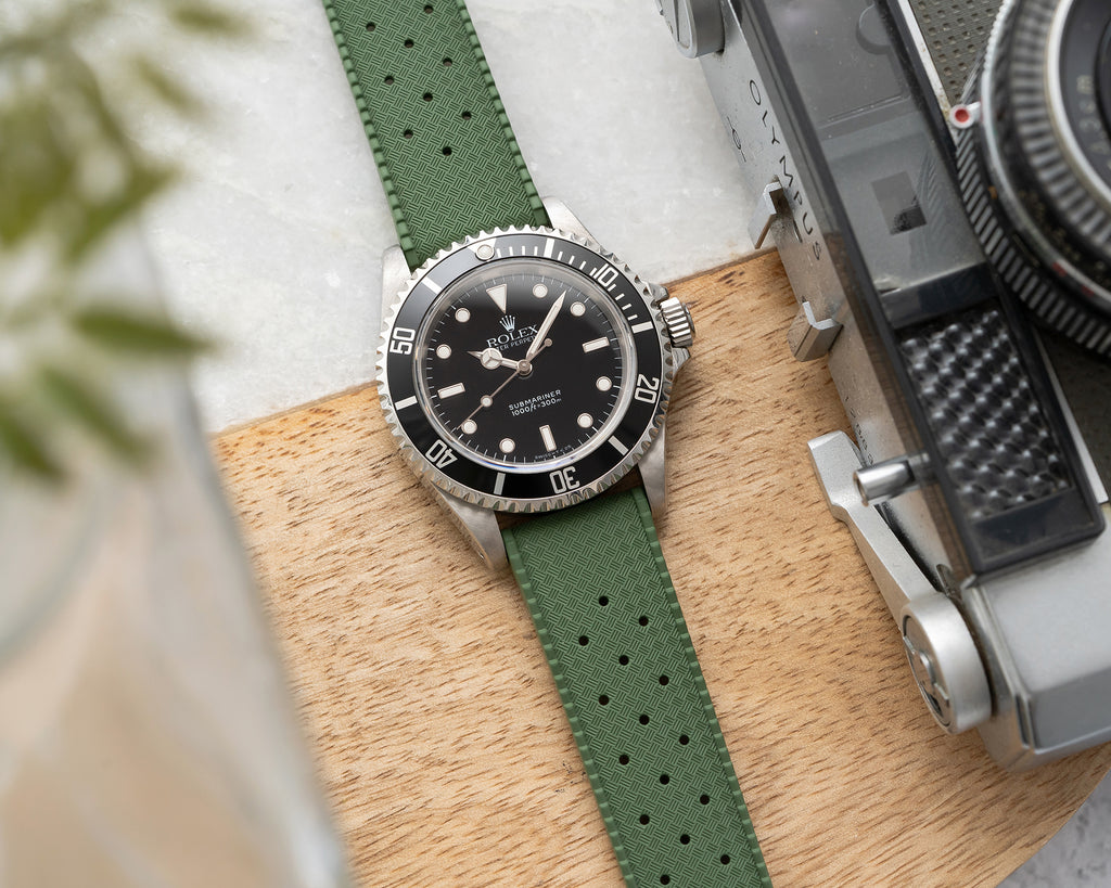 Dryden Watch Company Quick Release Tropic Rubber Watch Strap 20mm 22mm Green