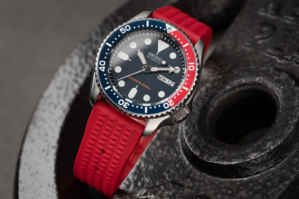 22mm 20mm Quick Release Tropic Rubber Watch Strap Red