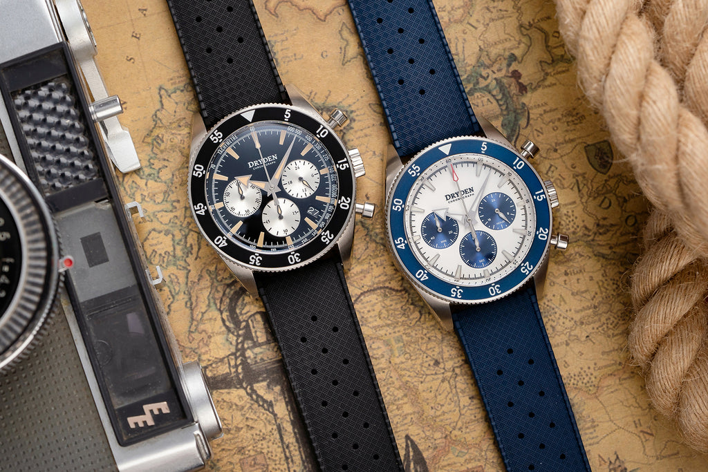 Blue and Black Tropic Rubber Watch Straps