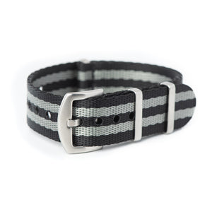 20mm 22mm Premium Seat Belt Nylon NATO Watch Strap - Black Grey [ James Bond ]