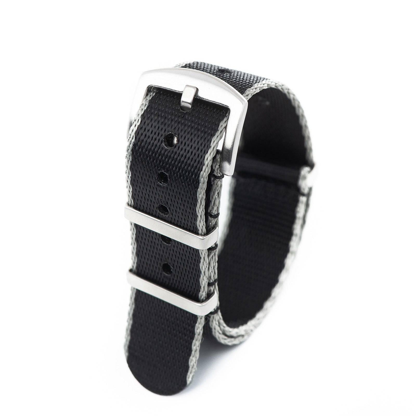 20mm 22mm Premium Seat Belt Nylon NATO Watch Strap - Black Grey
