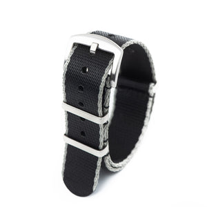 Premium Seat Belt Nylon NATO Watch Strap - Black Grey