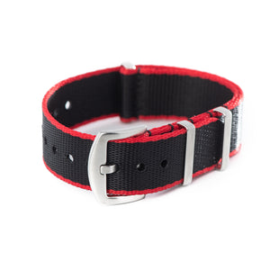 Premium Seat Belt Nylon NATO Watch Strap - Black Red