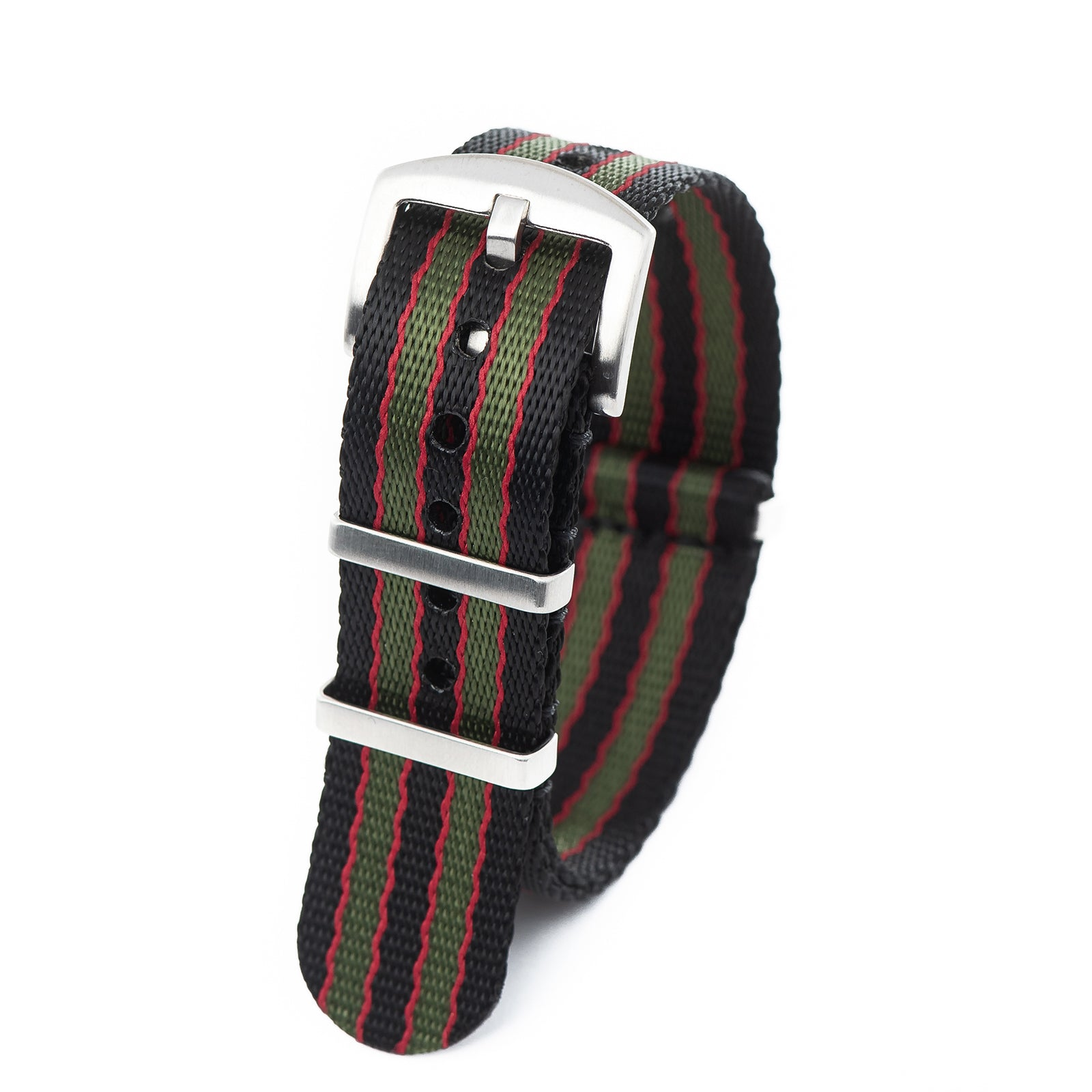 20mm 22mm Premium Seat Belt Nylon NATO Watch Strap - Black Red Green [ James Bond ]
