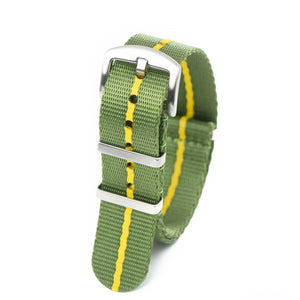 Premium Seat Belt Nylon NATO Watch Strap - Green Yellow