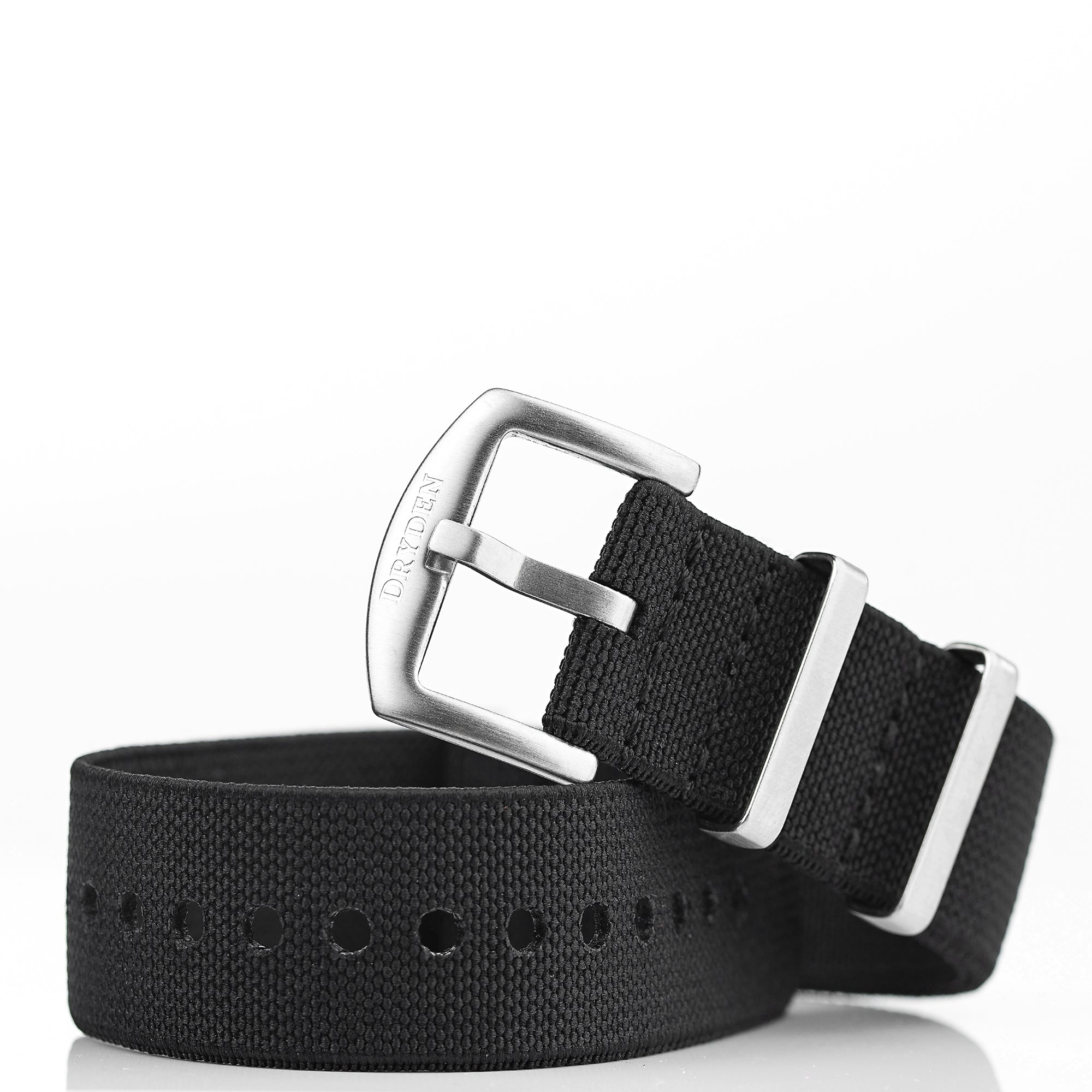 Woven Elastic Nylon Watch Strap - 22mm Black