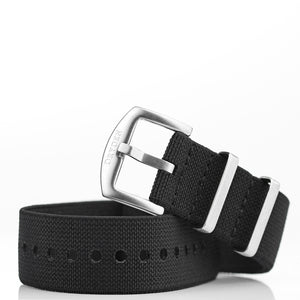 Woven Elastic Nylon Watch Strap - Black