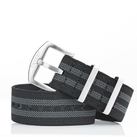 Woven Elastic Nylon Watch Strap - 22mm Black / Grey (Bond)