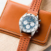22mm Quick Release Rally Racing Leather Watch Strap - Orange Brown