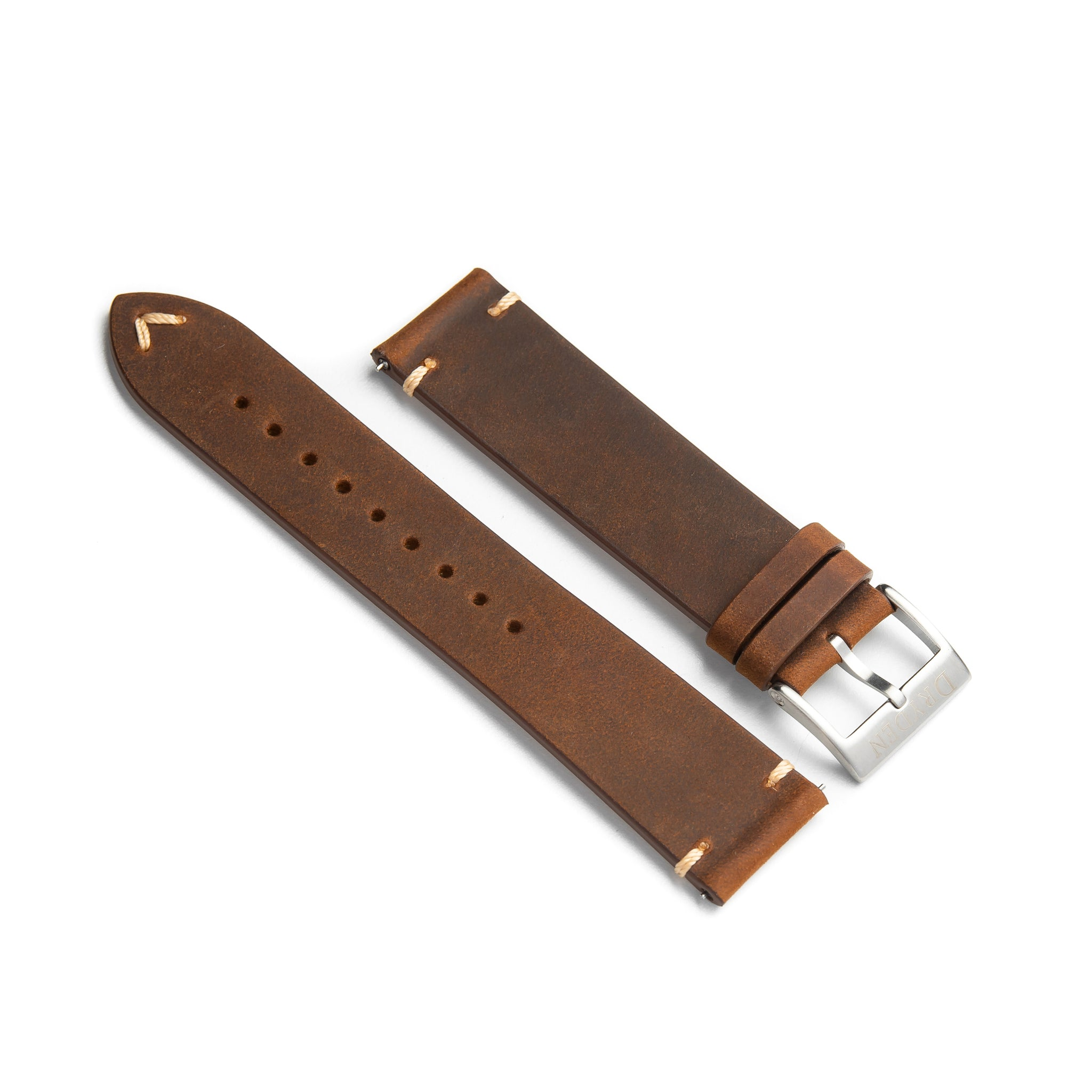 22mm Quick Release Simple Stitch Leather Watch Strap - Dark Brown