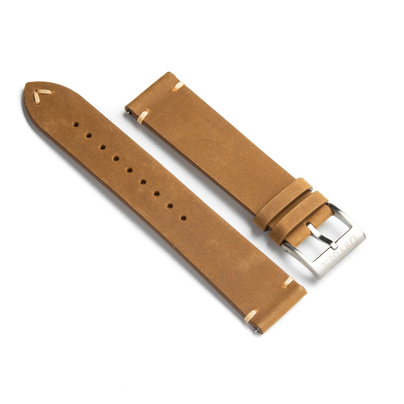 22mm Quick Release Simple Stitch Leather Watch Strap - Light Brown