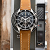 22mm Quick Release Full Stitch Leather Watch Strap - Tan Light Brown