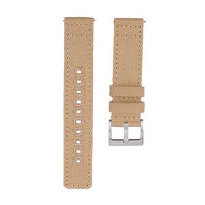 Quick Release Canvas Watch Strap - 20mm 22mm Khaki