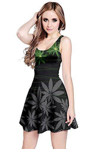 CowCow Womens Gary Dark Black Cannabis Marijuana Sleeveless Dress, Dark - XS