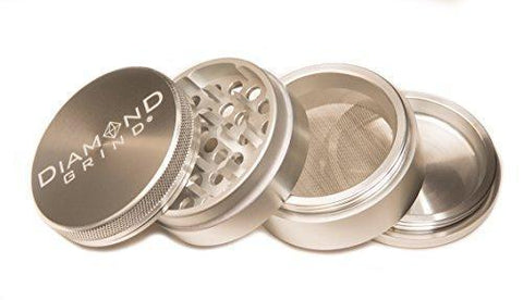 "Diamond Grind 4 Piece Aluminum Herb Grinder with screen 56mm (2.25"") SILVER"