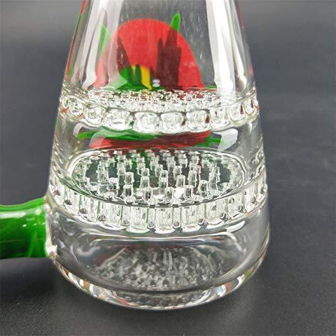 Handmade Leaf Transparent Glass Water Bottle Best Gift for a Friend ice Water Pipe, Height 16cm/Weight 156g