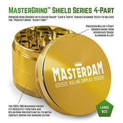 Masterdam Grinders 4-Piece Anodized Aluminum Herb Grinder with Pollen Catcher (Large (2.5 inch), Gold)