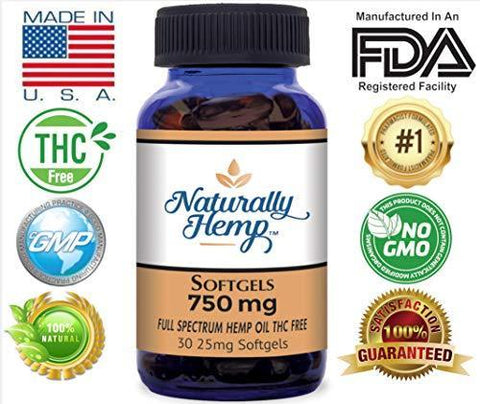 Naturally Hemp Oil 750mg Bottle - Certified Organic - Relief for Stress, Inflammation, Pain, Sleep, Anxiety, Depression, Nausea - Rich in Vitamin E, Vitamin B, Omega 3,6,9 and More!