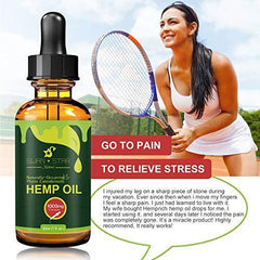 Hemp Oil for Pain Relief, Relieve Inflammation, Stress Support, Anti Anxiety, 100% Pure Organic Hemp Extract Oil (1000mg)