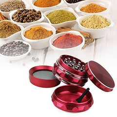 Fancystyle Grinder Polygon 4 Pieces Herb Grinder Spice Grinder Spice Mill with a Pollen Scraper (Red)