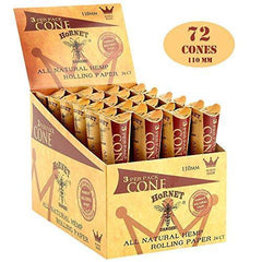 HORNET 72 Pre-Rolled Cones Natural Hemp King Size Organic Cigarette Rolling Papers with Tips-24 Packs of 3 Cones (110mm)