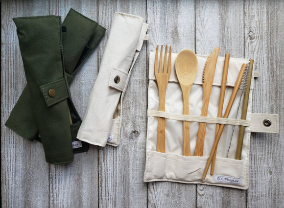 Reusable bamboo cutlery utensils