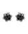Black Diamond Rhodium Plated 925 Sterling Silver Flower Stud Earrings View 1
