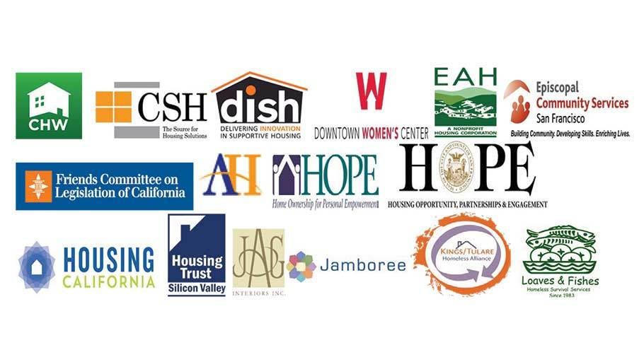 Jamboree and organizations that signed joint letter for legislative action to end homelessness in California