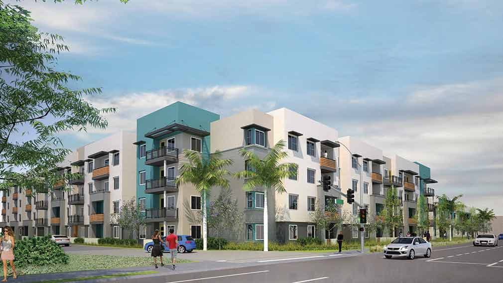 Rendering of Jamboree's Manchester-Orangewood affordable community in Anaheim,CA