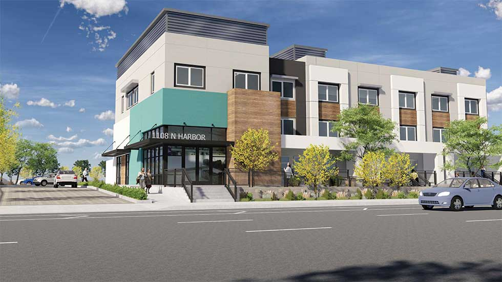 Jamboree's North Harbor Village rendering, motel conversion, Santa Ana, CA