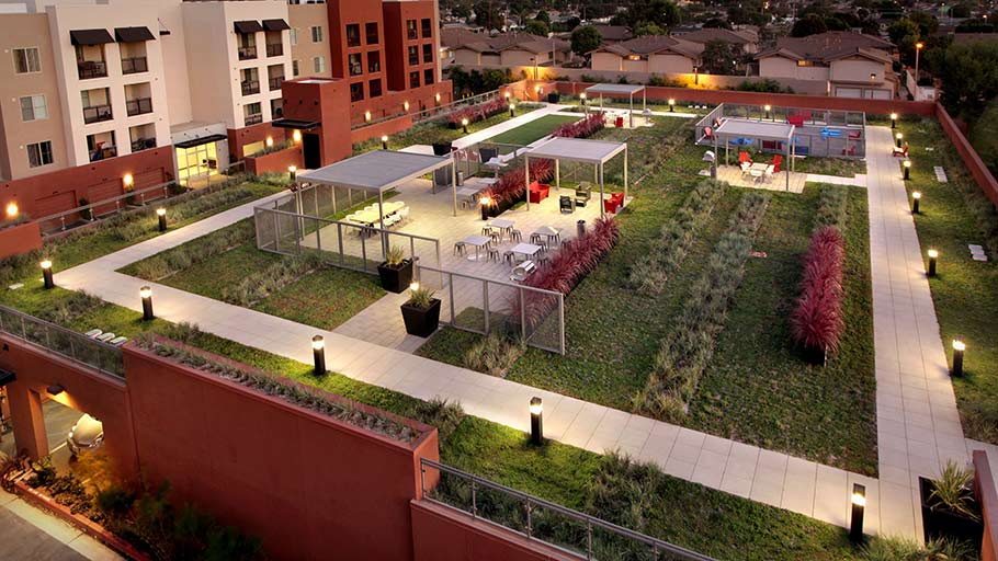 LiveRoof® Hybrid Green Roof System on top of Jamboree's Park Landing Apartment Homes in Buena Park, CA