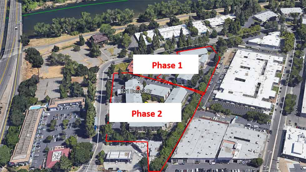 Jamboree's River District Landing aerial map, Sacramento hotel conversion