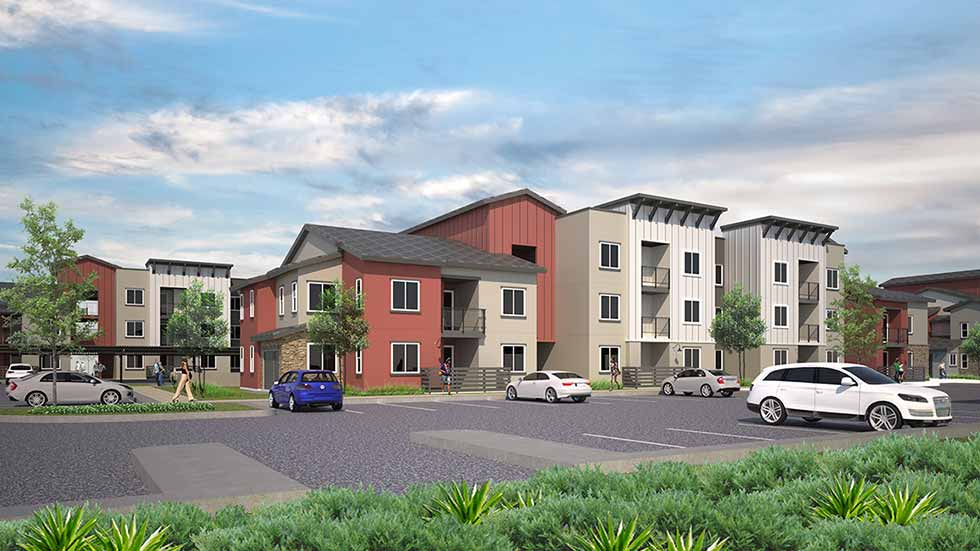 Rendering of Jamboree's 60-unit affordable housing development in Fontana, CA