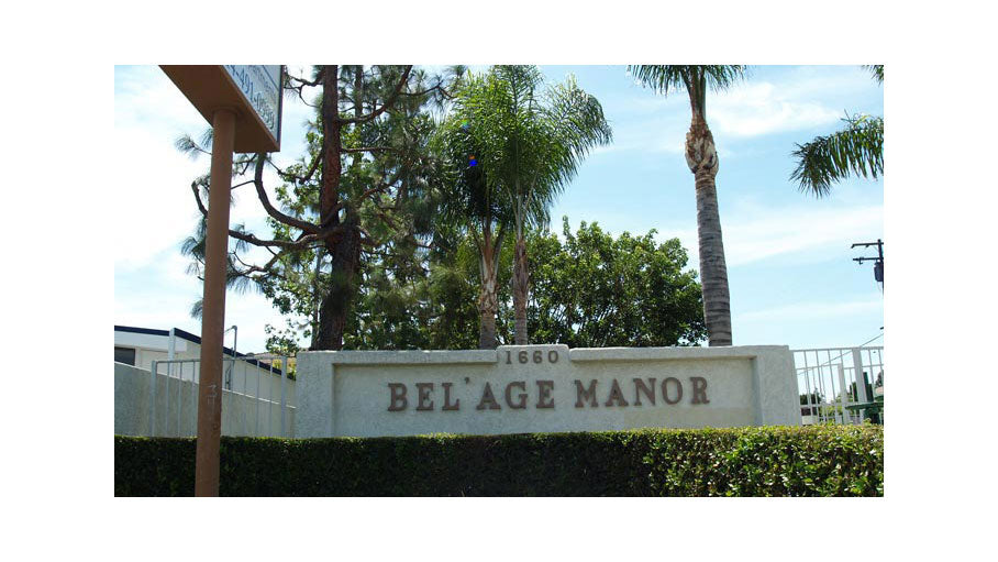 Jamboree BelageManor affordable senior community Anaheim entrance sign