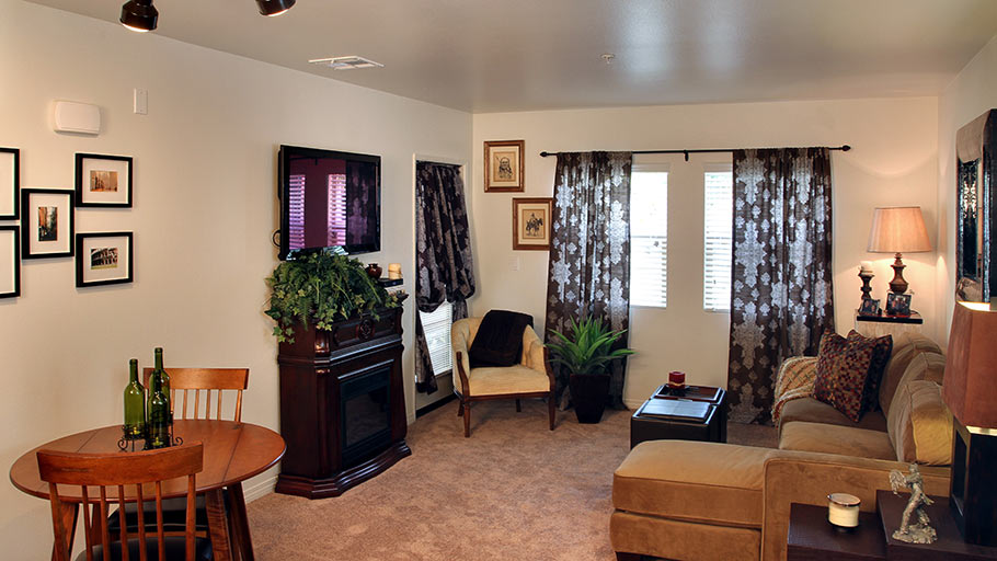 Jamboree's Bonterra affordable family apartment living room Brea, CA