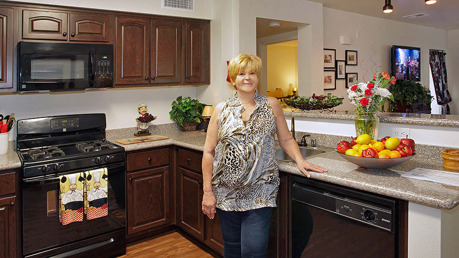 Jamboree's Bonterra affordable family resident unit kitchen Brea, CA